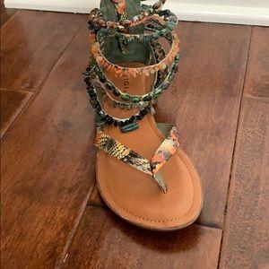 ZIGI GIRL 6 Strap Beaded Ankle Printed Sandals